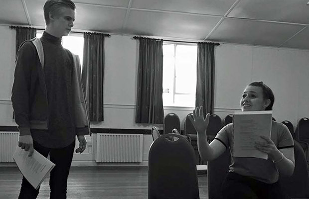 Sophia Ford as Norma and Elliot Scott-Lolley as Joe during rehearsals