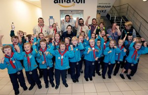 The Beavers on their visit to Amazon's centre in Rugeley