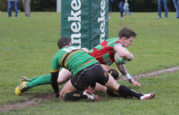 Neil Holden goes over for a try. Pic: Joanne Gough