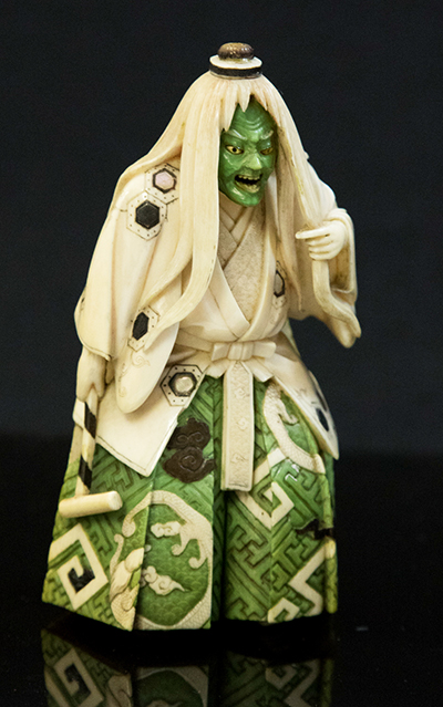 An ivory Japanese Meiji period shibayama okimono of a ferocious actor which sold for £950