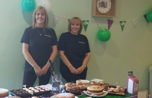 Jane Mason and Rachael Hardwood with some of the cakes at Burntwood Leisure Centre
