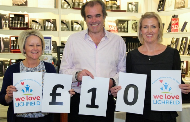 Maria Dutton, Simon Price and Caroline Pittaway in the Arthur Price Lichfield Shop