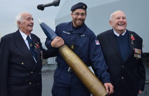Norman Burns and Alfie Booker with a member of the HMS Westminster crew