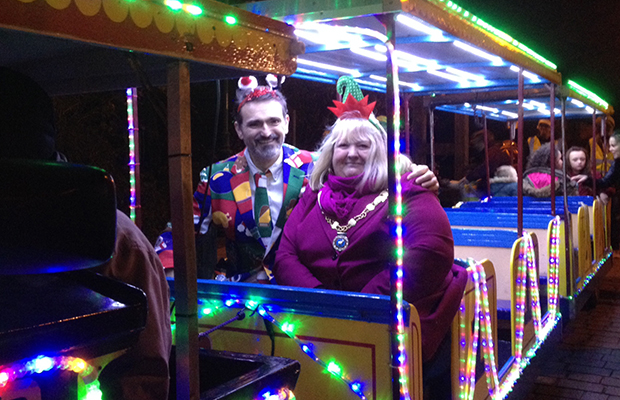 Cllr Darren Ennis and Cllr Pam Stokes at last year's Burntwood Christmas Festival