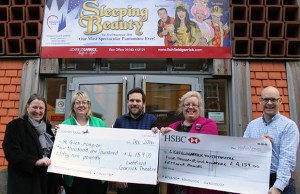 Philippa Graty and Lesley Holmes from St Giles Hospice with Alex Lloyd, Karen Foster and Tim Ford from the Lichfield Garrick