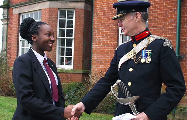 Maple Hayes pupil Eleta Taylor, 15 with with Col David Leigh, Staffordshire High Sheriff