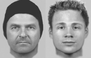 A photofit of the two men wanted after £3,000 was stolen from a Burntwood pensioner
