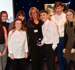 Deputy Police and Crime Commissioner Sue Arnold with students from Netherstowe School