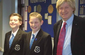 Michael Fabricant with members of the school council