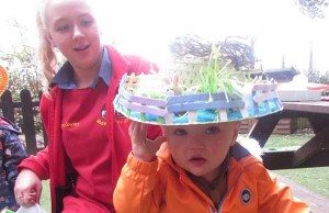 One of the children in their Easter bonnet