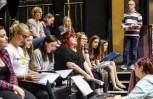 The Garrick choir in rehearsals