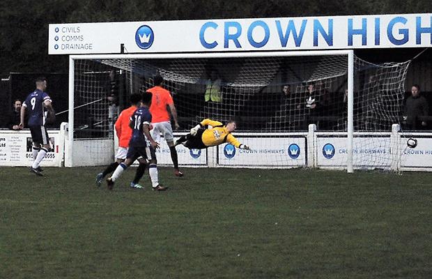 Jack Langston takes the free kick