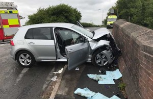 The crashed car. Pic: West Midlands Ambulance Service