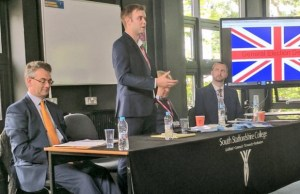 Chris Worsey speaking at the hustings event