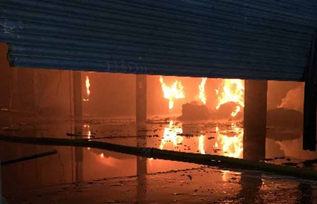 Flames inside the industrial unit