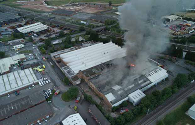 The fire at the former GKN site photographed from the air