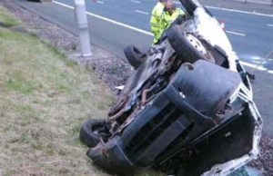 The overturned van on the M6 Toll