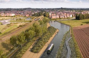 An artist's impression of the restored canal as it passes Fosseway Heath