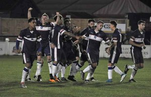 Chasetown's players celebrate their dramatic win over Sheffield. Pic: Pamela Mullins