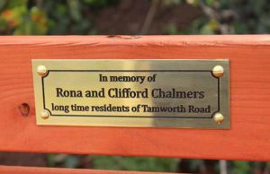 The dedication on the bench