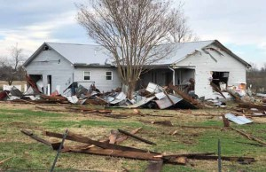 The damaged family home in Kentucky