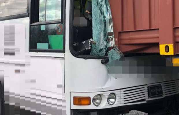 The damaged coach after the crash on the A38. Pic: West Midlands Ambulance Service