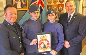 Flt Lt Chris Kelly, cadet Luke Lambert-Dean, cadet corporal Chloe Wright and squadron chairman Tony Davis