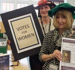 Preparations for the suffragette talk at Lichfield Library