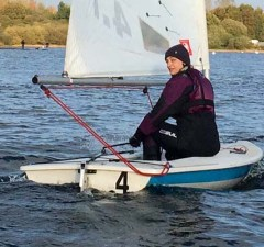 Chase Sailing Club member Susannah Tooze on the water