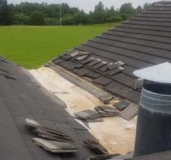 Damage to the clubhouse roof. Pic: Burntwood RUFC