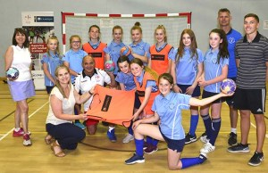 Handball players and teachers at Chase Terrace Technology College in Burntwood with Danielle Goffe-Wood of Cameron Homes and Pop Popovic of England Handball (front row)