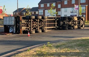 The overturned HGV. Pic: Staffordshire Police