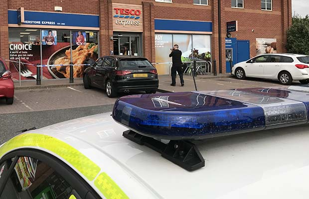 Police at the Tesco store on Birmingham Road in Shenstone. Pic: Godden Photography