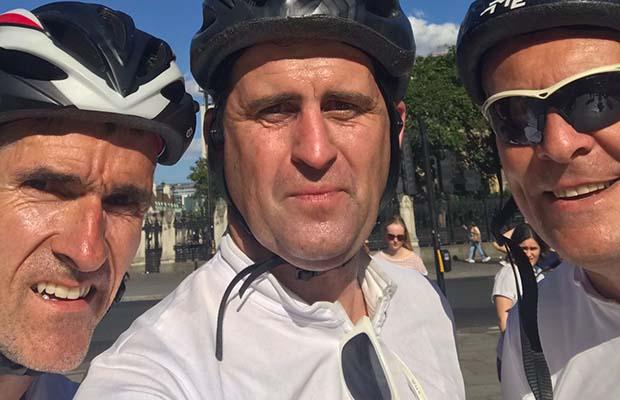 John Heeler with his fundraising cycling friends Richard Matthews and John Poulton
