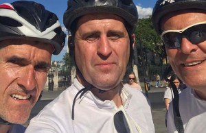 John Heeler with his fundraising cycling friends Richard Matthews and John Poulton