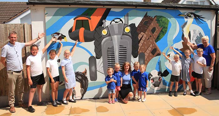 The unveiling of the new mural at Stepping Stones Pre-School in Alrewas