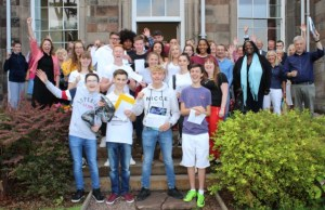 Students and staff at Lichfield Cathedral School celebrating their GCSE results