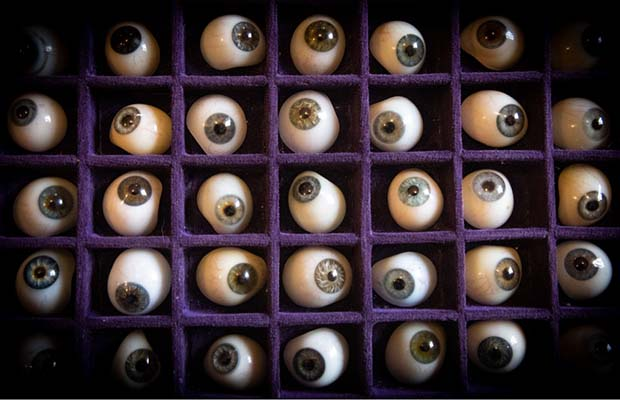 Some of the glass eyes found in Lichfield