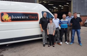 John Watts with members of the Flamerite Fires team