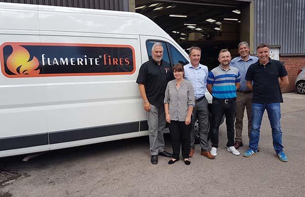 John Watts with members of the Flamerite Fires team
