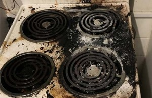 The fire-damaged hob