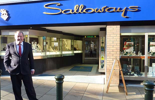 Nigel Salloway outside the shop in Lichfield city centre