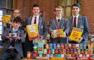 Pupils with some of the items collected for the Lichfield Foodbank