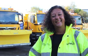 Cllr Helen Fisher with some of the new gritters