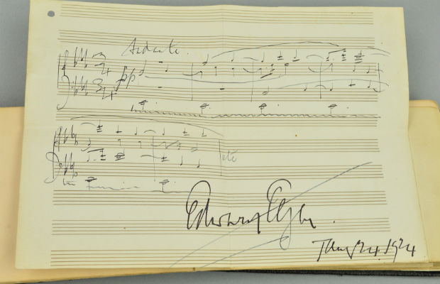 The musical score signed by Sir Edward Elgar