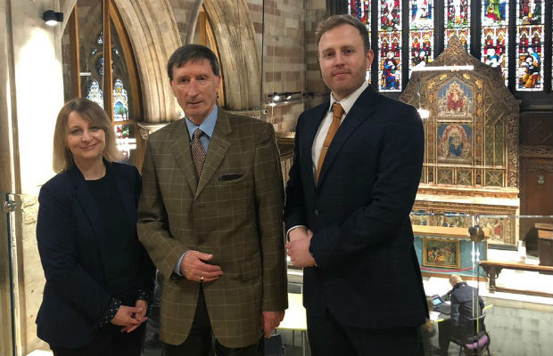Sarah Milward and Richard Knight from IM Land with Nick Sedgwick (centre), chair of trustees at The Guild of St Mary's