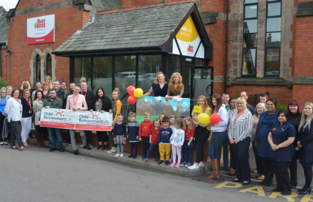 Staff and children at the send off event for Karen Mackay and Yvonne Smillie