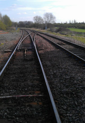 The existing tracks heading from Lichfield to Burton