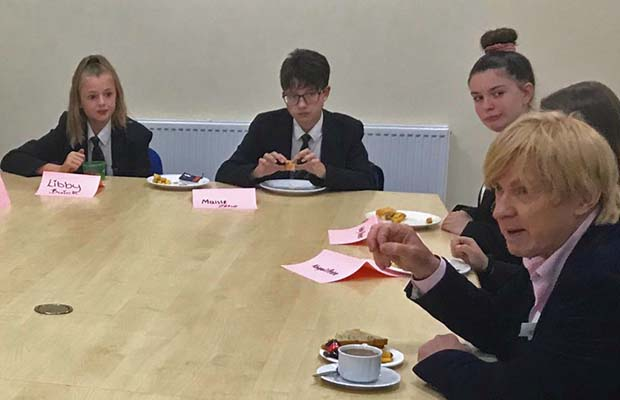 Michael Fabricant answering questions from students at Erasmus Darwin Academy