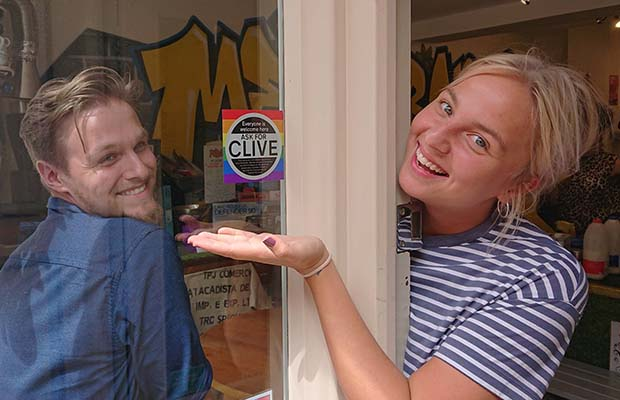 One of the new Ask for Clive stickers in Lichfield